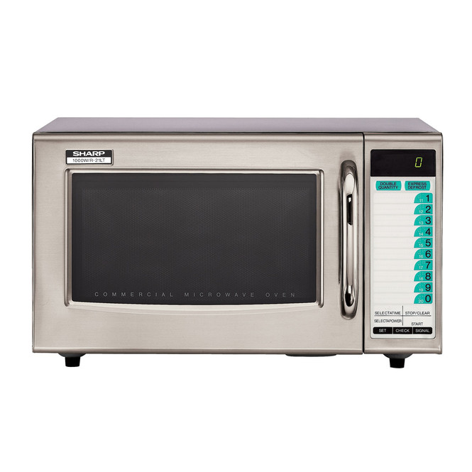 Front view of Sharp R-21LTF 1000W Microwave w/ Touchpad