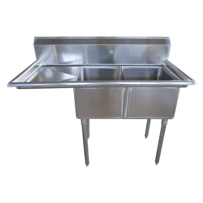 Atlantic Metalworks 16 x 20 x 12 2 Compartment 1 Drainboard Sink