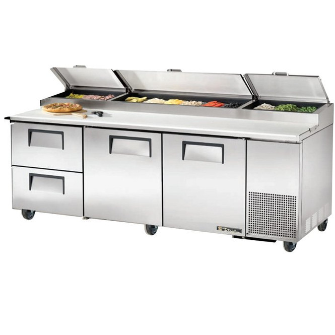 "TPP-93D-2 True 93"" Pizza Prep Table w/ 2 Drawers"
