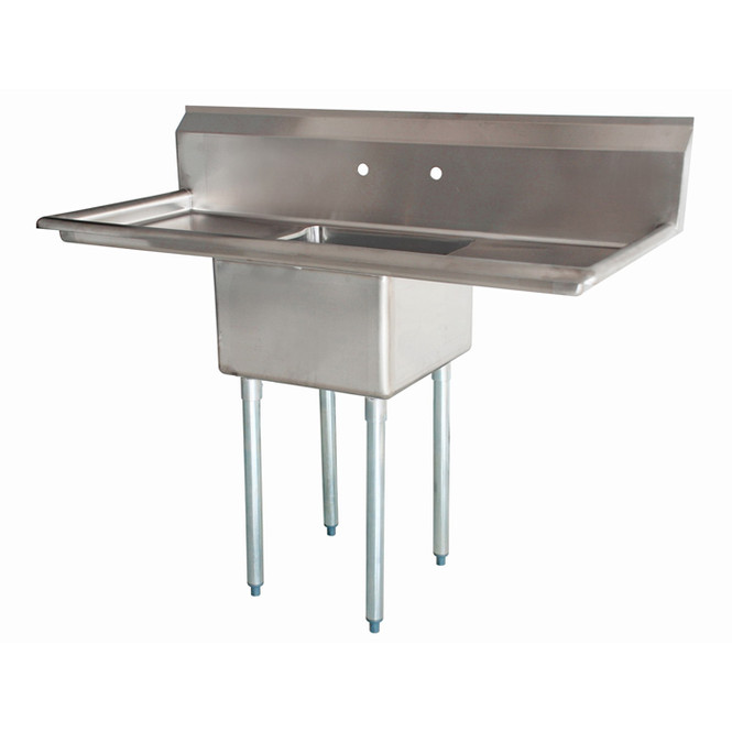 Atlantic Metalworks 24 x 24 x 14 Bowl - 2 Drainboards - 1 Compartment Sink