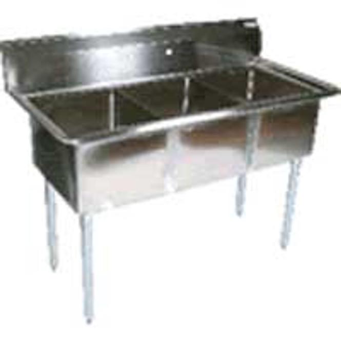 BK Resources BKS-3-15-14 - 3 Comp Sink 15x15x14 Bowls No Drainboard