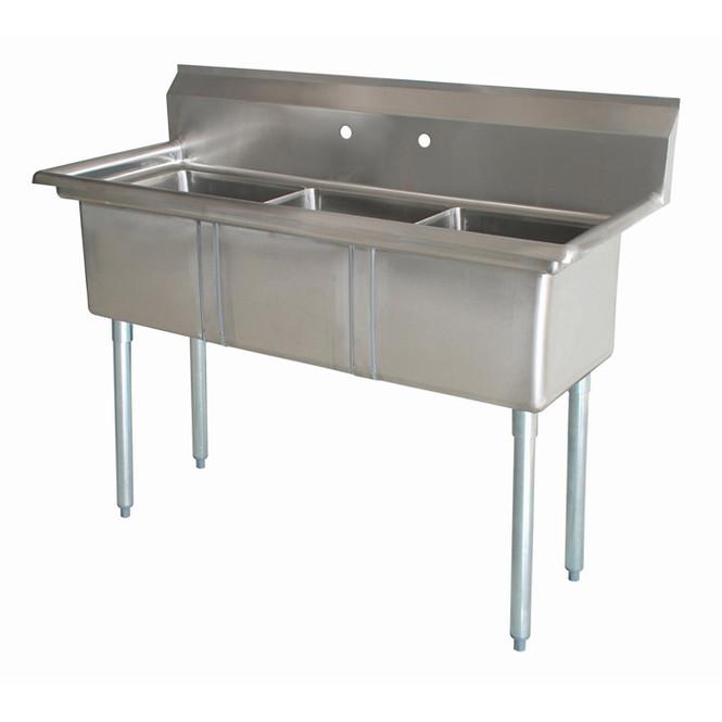 The 3CS-101410-0 Atlantic Metalworks 10 x 14 x 10 Bowl - 3 Compartment Sink