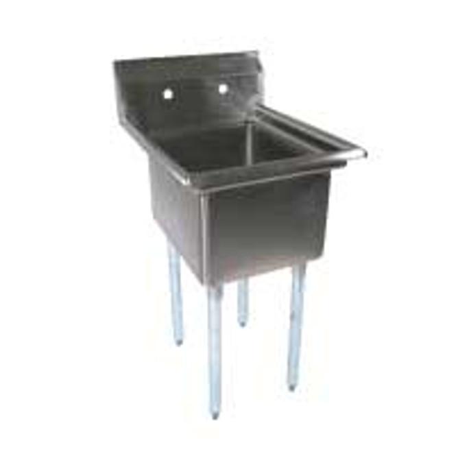 BK Resources BKS-1-24-14 - 24x24x14 Bowl No Drainboard 1 Comp Sink