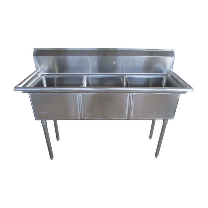 Atlantic Metalworks 3CS-181812-0 - 18x18x12 No Drainboard Economy 3 Bowl Sink