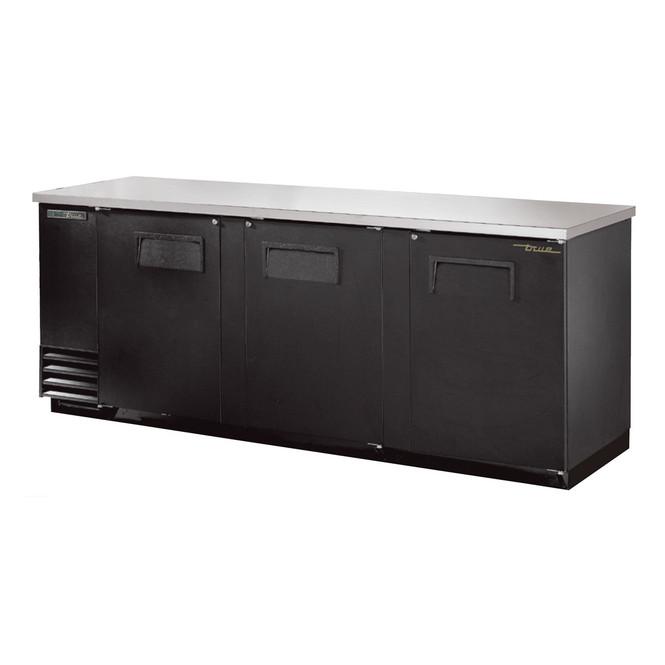 Front view of True's TBB-4-HC Solid Door Back Bar Cooler