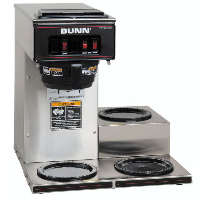 Bunn VP17-3 Pourover Coffee Brewer 3 Lower Warmers Stainless 13300.0003