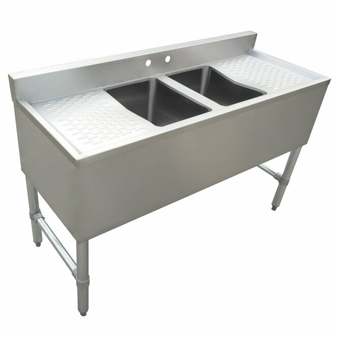 Atlantic Metalworks 2 Bowl 2 Drainboard Underbar Bar Sink