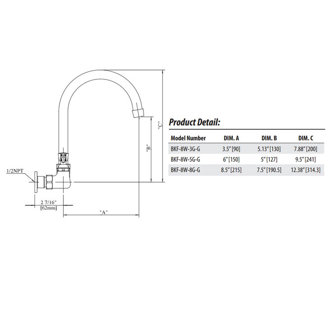 Blue print of the dimensions of this goose neck faucet
