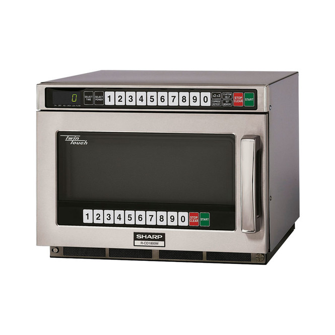 Angle view of Sharp's R-CD1800M 1800W TwinTouch Microwave