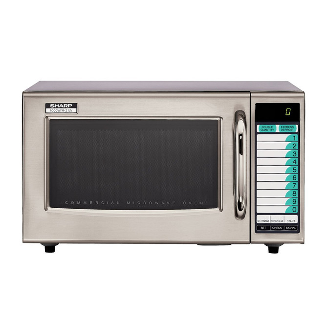 Front view of Sharp R-21LVF 1000W Microwave with Touchpad