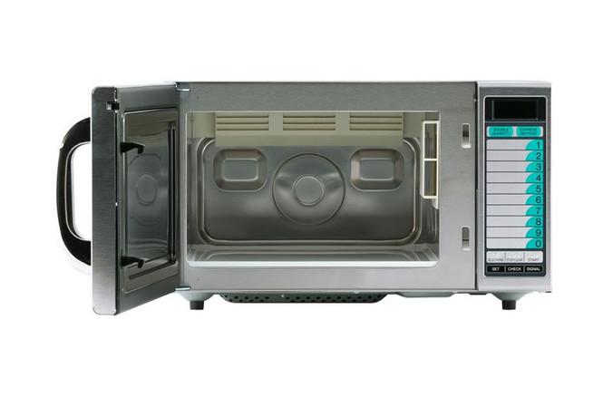 Sharp's R-21LVF 1000W Microwave with door open