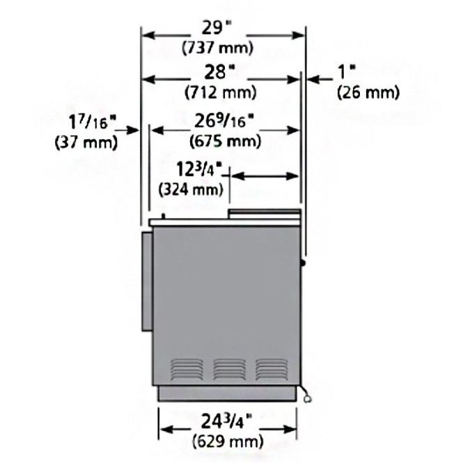 TD-65-24 bottle cooler  side specs image