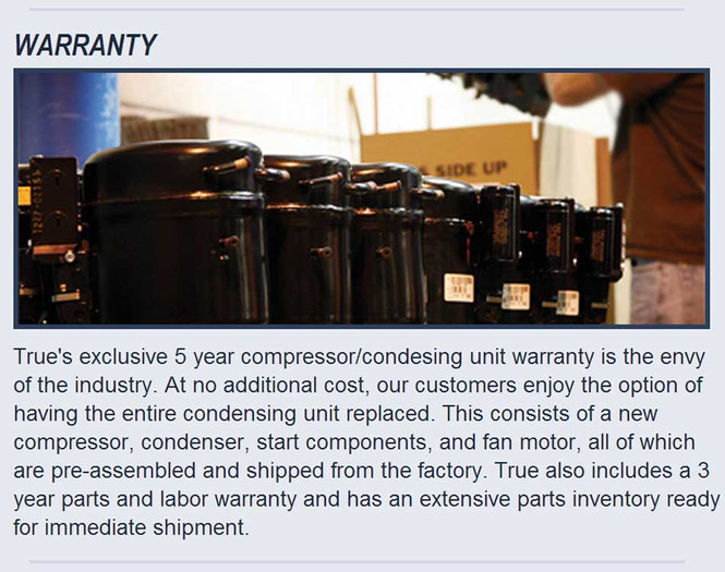 Picture of compressors and True's new warranty