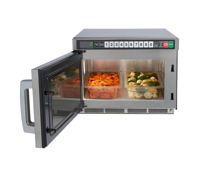 A Sharp TwinTouch microwave with door open and two 1/3 size pans inside
