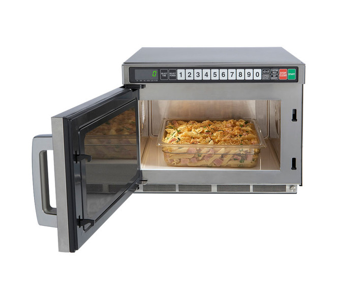 A Sharp TwinTouch microwave with door open and a half pan inside
