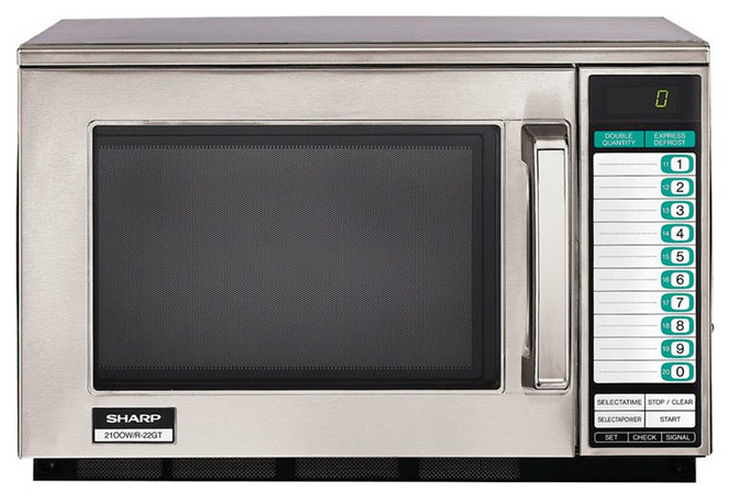 Front view of Sharp's R-22GTF 1200W Microwave