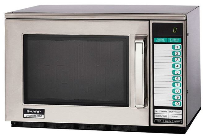 The Sharp R-22GTF 1200W Microwave at an angle