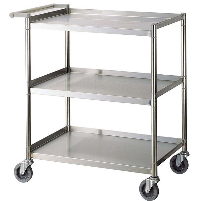 "28""x18""x33.5"" Stainless Steel Three Shelf Bus Cart - Economy"
