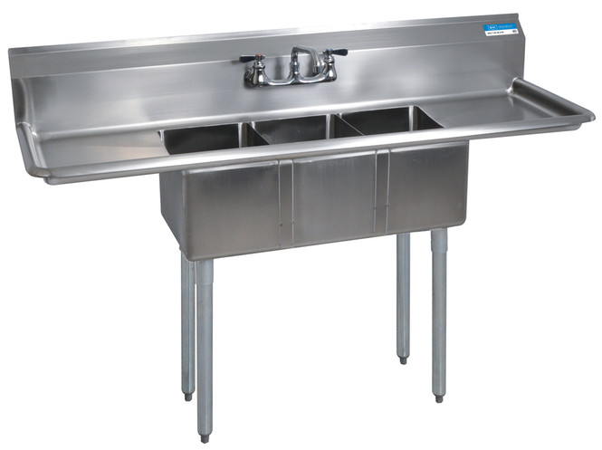 BK Resources 3 Compartment Sink 10x14x10 with Two Drainboards