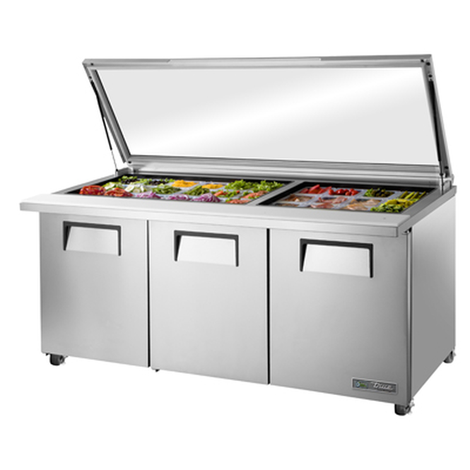 "Picture of a True TSSU-72-30M-B-ST-FGLID-HC 72"" Salad or Sandwich Prep Table with Glass Lid"