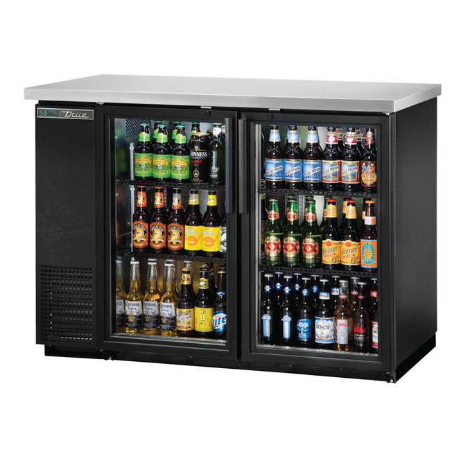 The True TBB-24-48G-HC-LD Glass Door Back Bar Cooler filled with product