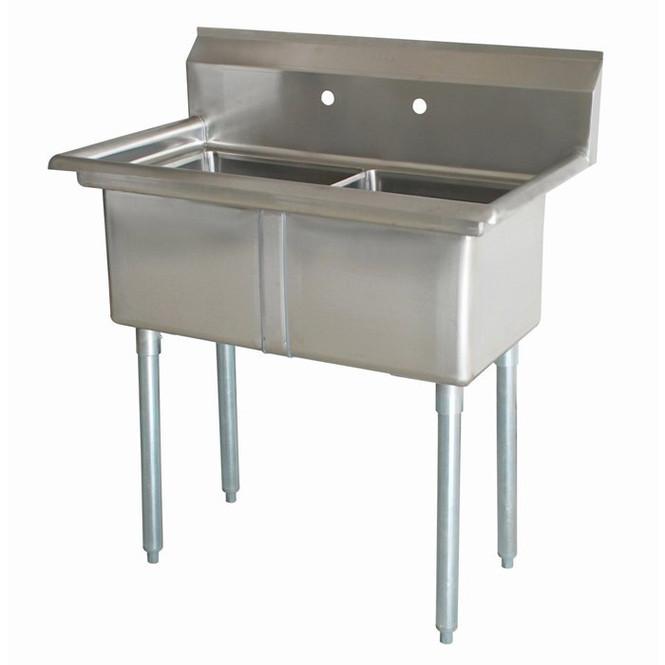 Atlantic Metalworks 16 x 20 x 12 2 Compartment No Drainboard Sink
