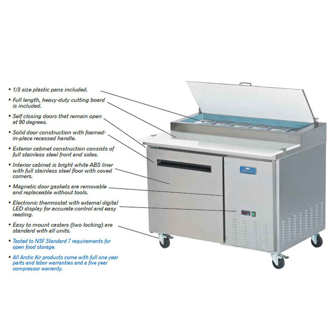 Various features of this pizza prep table