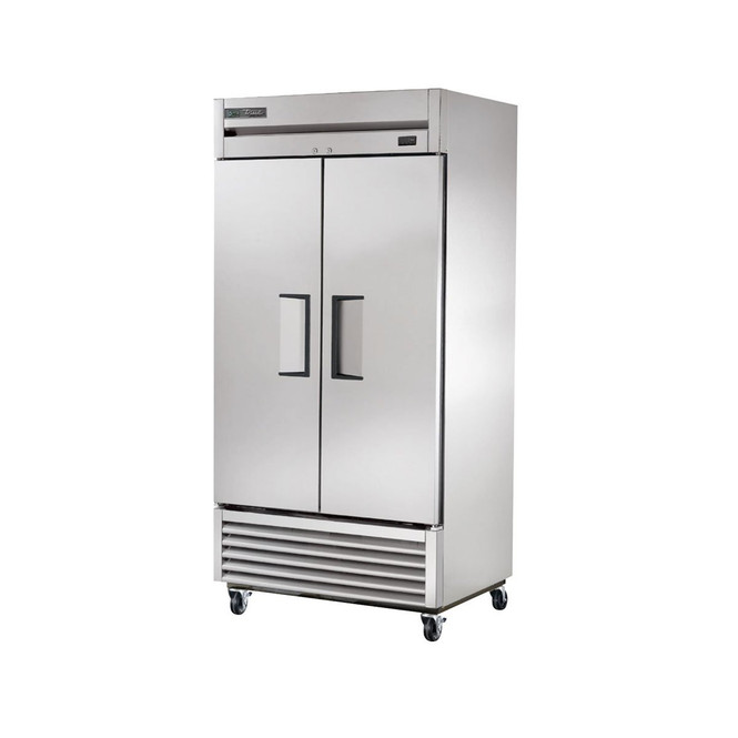 Front-angle view of True's T-35-HC reach-in refrigerator