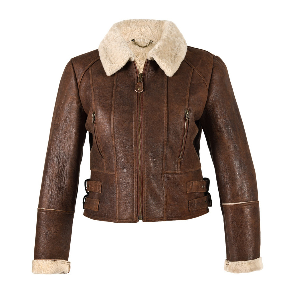Ladies Short Sheepskin Jacket - Ella (Brick Forest)