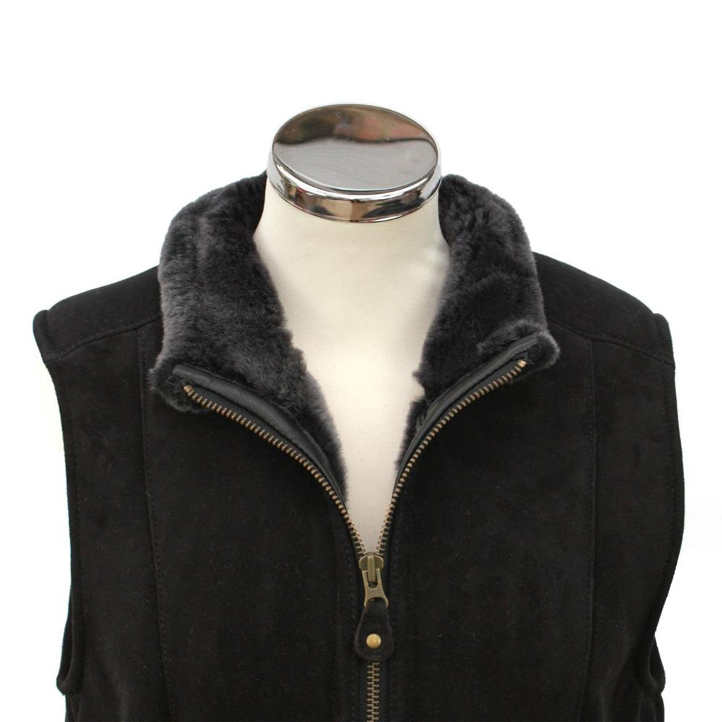 Ladies Suede and Sheepskin Gilet - Black
