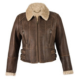 Ladies Short Sheepskin Jacket - Ella (Chocolate Forest)