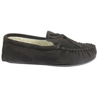 Men's Moccasin Slippers Hard Sole - Brown