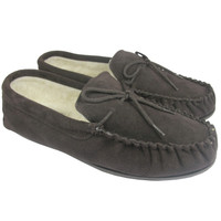 Men's Moccasin Slippers With Hard Sole - Dark Brown