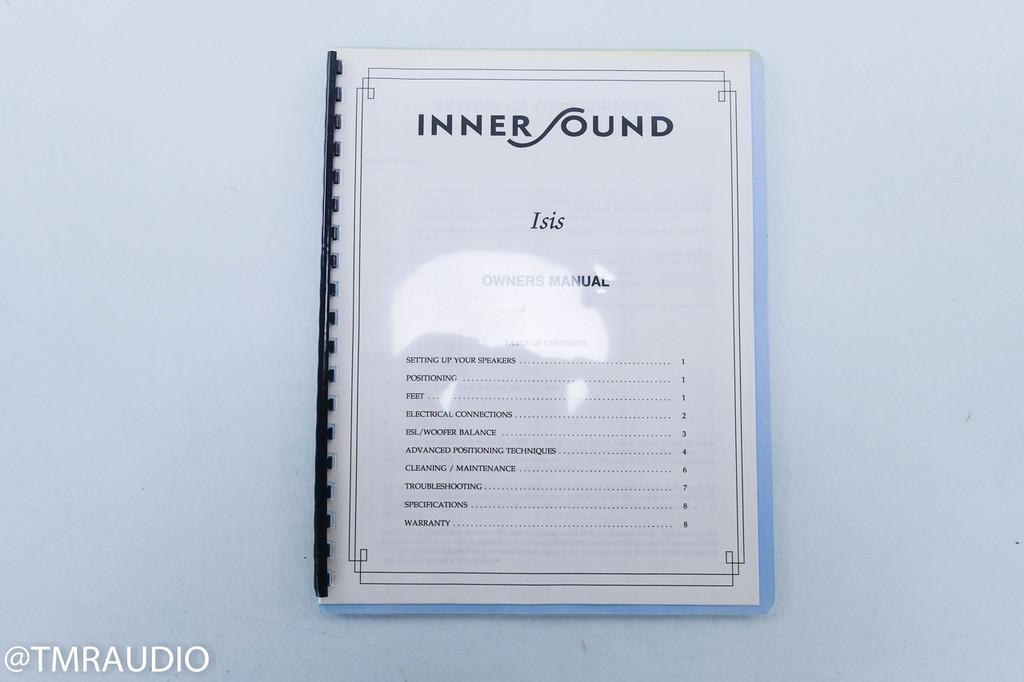InnerSound Isis Electrostatic Hybrid Floorstanding Speakers; Cherry Trim Pair
