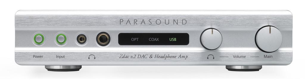 Parasound Zdac v.2 DAC / Headphone Amplifier; V2; Silver (New)