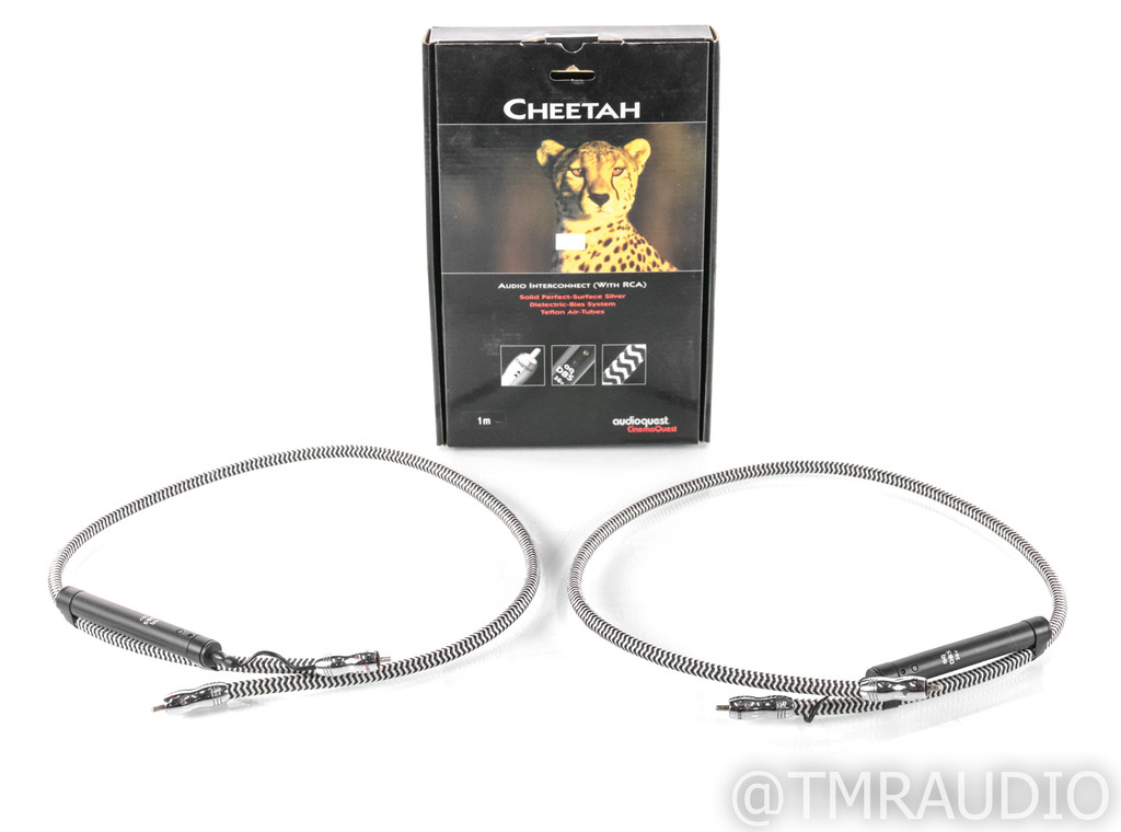 AudioQuest Cheetah RCA Cables; 1m Pair Interconnects; 36v DBS