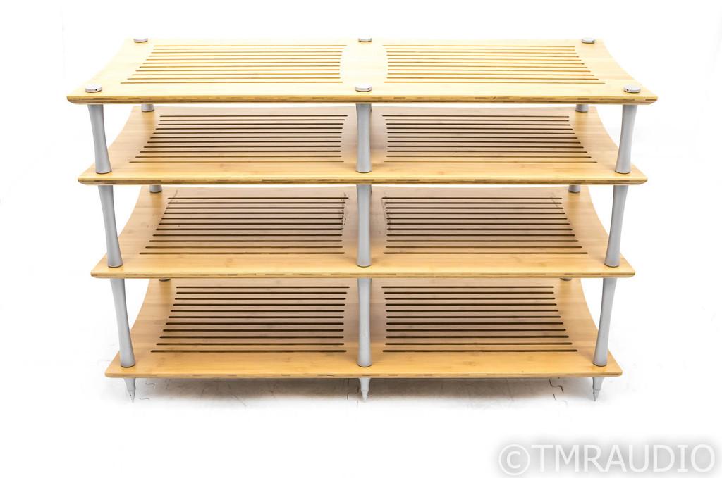 Quadraspire SV2T 4 Shelf Component Rack; 28in; Bamboo / Silver (Demo)