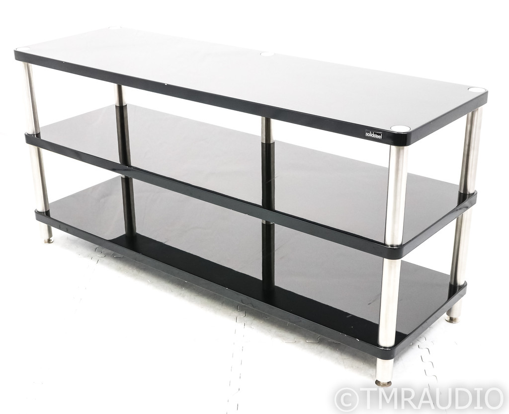 Solid Steel HW-3L Component Audio Rack System; Black Gloss; 3-Tier