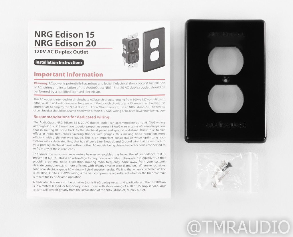 Audioquest NRG Edison 15 Wall Outlet; 15A