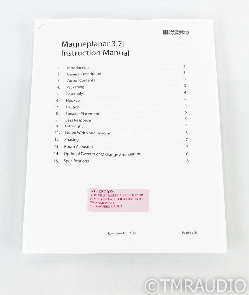 Magnepan MG 3.7i Planar Magnetic Speakers; 3.7-i; Beige Pair
