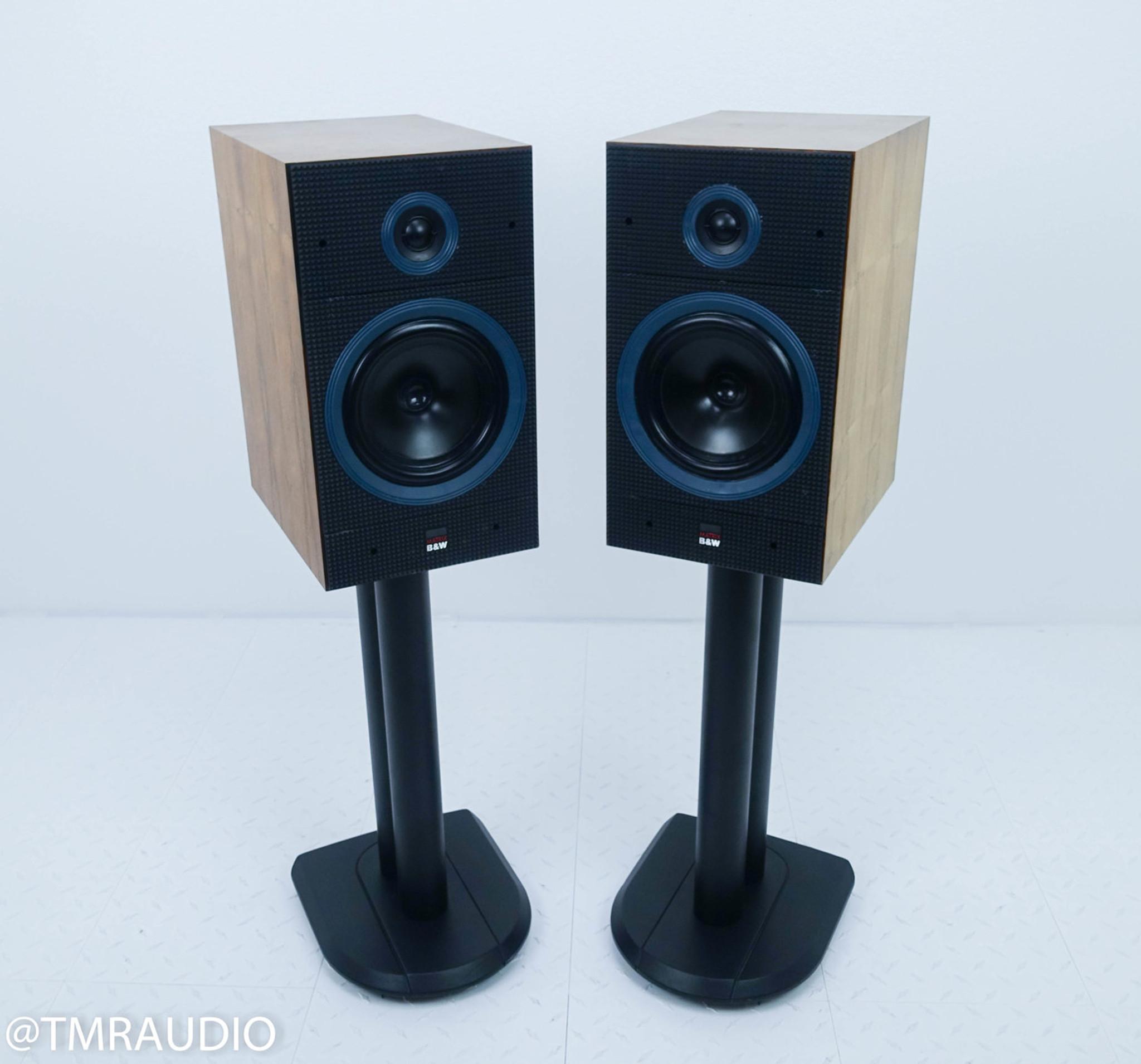 B W Matrix 1 Bookshelf Speakers Walnut Pair W Stands