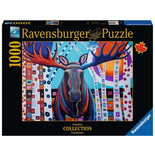 A beautiful 1000pc puzzle captures the bull moose peeking through the birches in a very Canadian scene!