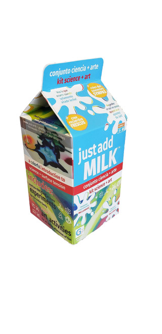 Just Add Milk makes science and art at home easy by using supplies you already have. This kit comes loaded with everything you need for at-home science and art experiments, all you need to do is add the missing ingredient. Just add Milk encourages a curiosity for science combined with a love for experimenting with art. More than 8 science and art activities including Magic Milk, Milk Painting and so much more! Discover Surface Tension, Weakening Molecular Bonds, and Density Of Liquids.  This kit features instructions in English, Spanish and French. Designed for kids ages 5 and up.