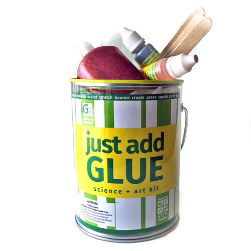 Just Add Glue makes science and art at home easy by using supplies you already have. This kit comes loaded with everything you need for at-home science and art experiments, all you need to do is add the missing ingredient. Create different forms of super stretchy polymers and make them bounce! Create putties that can be picked up, stretched, and even rolled into a ball that bounces. Using the same ingredients create an array of creative crafts that you can keep, like crystals and window clings! More than 8 science and art activities. Discover states of matter including liquids and polymers, chemical reactions, and material engineering. This kit features instructions in English, Spanish and French. Designed for kids ages 8 and up.
