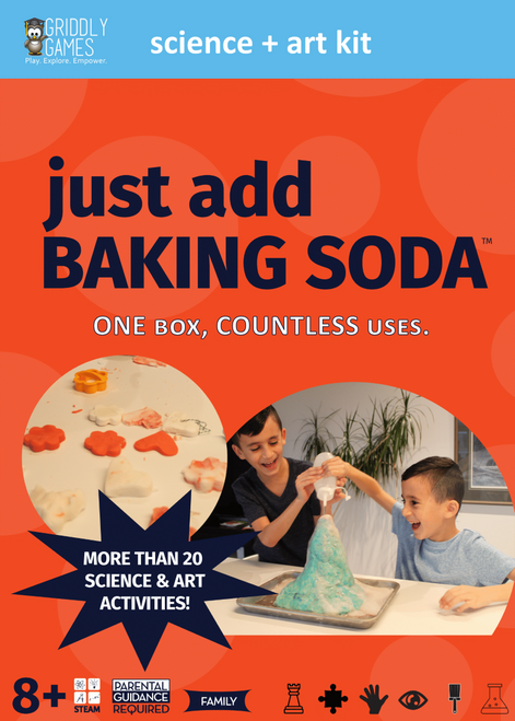 Just Add Baking Soda makes science and art at home easy by using supplies you already have. This kit comes loaded with everything you need for at-home science and art experiments, all you need to do is add the missing ingredient. More than 20 science and art activities including Bath Balls, Ornaments, Baking Soda Volcano and so much more. Discover chemical reactions, states of matter, and alkaline.  This kit features instructions in English, Spanish and French. Designed for kids ages 8 and up.