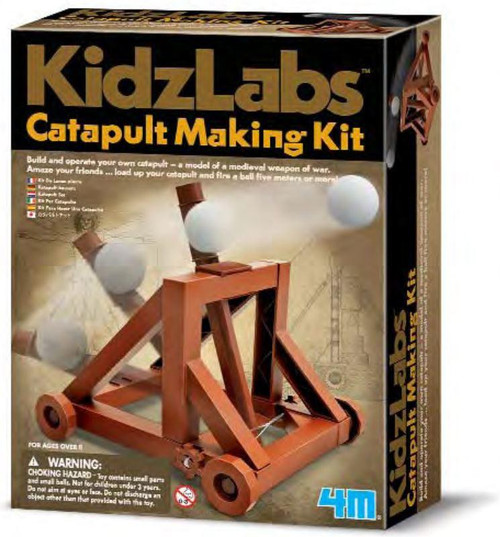 Build a small scale toy catapult and fire a ball, pom pom, or other small object - watch it land 5 or more meters away! The set includes a base frame, all the pieces necessary to build the toy catapult, a couple of soft toy projectile balls and a detailed set of instructions.  For 8 yrs+ with adult supervision recommended.