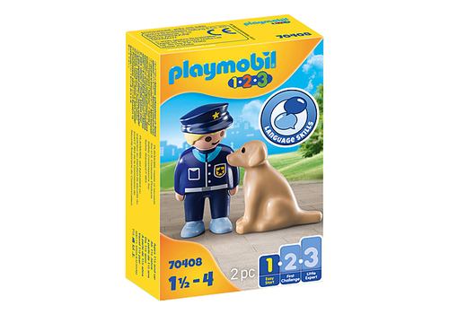 The police officer is on patrol with his dog. The police dog supports the police officer in his work. Play themes and functions individually promote creativity, fine motor skills, language development, cognitive understanding and social competence.