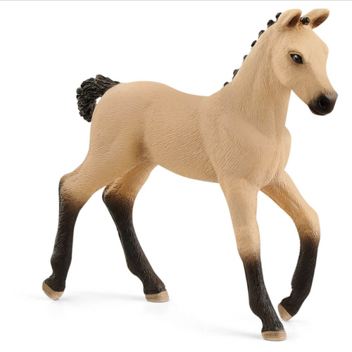 The Hanoverian Foal, Red Dun figurine from Schleich® Horse Club will grow up to be an outstanding tournament horse.