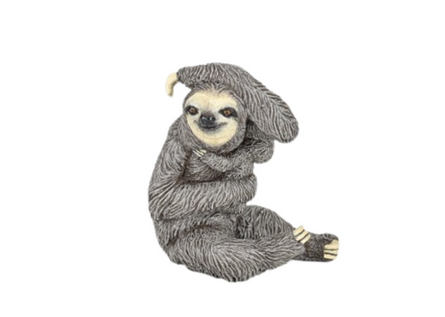 The toy sloth figurine holds its baby snug & close while it hangs in the tree, moving oh so slooooooow!