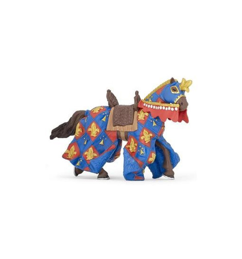 Faithful to its master, it proudly wears the blue fleur de lys, the colours of its king & his kingdom. Together, horse & rider figurine work to repress the waves of enemies who storm the castle, intent on conquering it.